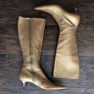 Dolce & Gabanna Leather Heals Gold Metallic 8.5